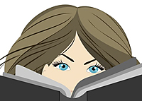 Woman's eyes over a book